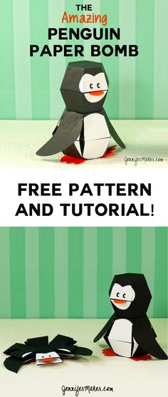 Make a Penguin Paper Bomb | Paper Toy | Trick Papercraft | Free Pattern and Tutorial via @jenuinemom