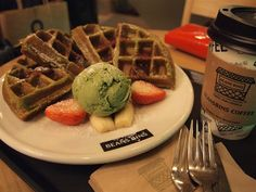 Greentea Waffle <3.  Waffles are also green tea flavored! so YUMMMY *