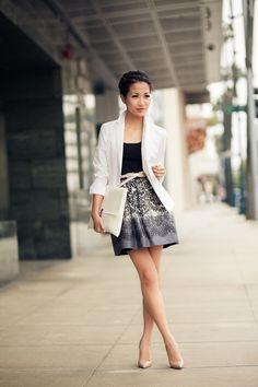 Traveler :: Printed skirt & Homemade clutch