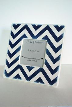 Navy Blue And Ivory Chevron Picture Frame --- can paint some wooden pictures frames navy and white for tables