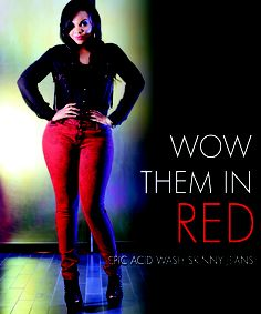 aea7308e5f8c Wow Them in Red. PZI Jeans Acid Wash Skinny Jeans in Red. www.pzijeans.com