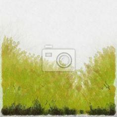 Wall Mural watercolour green grass - abstract • PIXERSIZE.com