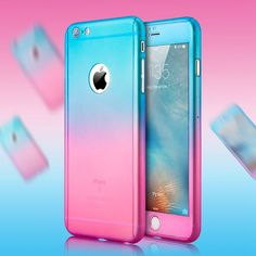 Luxury Gradient Transparent Mat Hard PC Case For iPhone 6 6S Plus For iPhone 7 360 Full Body Cover Temper Glass Screen Protector