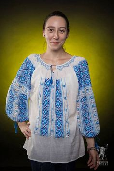 Ana-Maria is wearing a beautiful and very complex Romanian Label traditional blouse! Embroidered Shirts, International Day, Ethnic Fashion, Beautiful People, Folk, Bell Sleeve Top, Label, Rustic, Trends