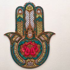 Lotus Flower Hamsa Wall Art Hand Painted Sacred ProtectionClick the link now to find the center in you with our amazing selections of items ranging from yoga apparel to meditation space decor! Hamsa Art, Protection Symbols, Meditation Space, Yoga Art, Jewish Art, Hand Of Fatima, Sacred Art, Art Pieces, Canvas Art