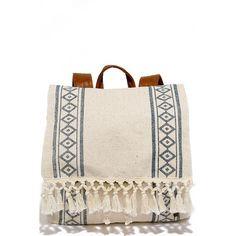 Billabong Moonglow Beige Print Backpack ❤ liked on Polyvore featuring bags, backpacks, pink backpack, fringe bag, fringe backpack, flap bag and woven backpack