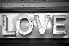 urban photography, love, sign, neon, 8x12 black and white photograph