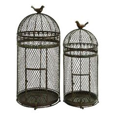 Cole & Grey Rustic Metal Free Standing Bird Cages