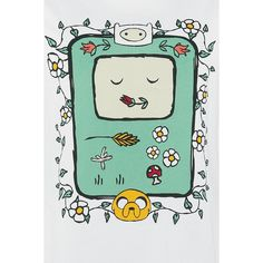 - Front print - Crew neck - Regular fit  BMO is a helpful and loyal friend of Finn and Jake in the series Adventure Time. This live video console lives with Jake and Finn. It has feelings and a sense of humour – pretty great for a console, right?! On this white shirt, BMO is surrounded by flowers together with Jake and Finn's heads.