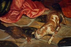 detail with cat from The Birth of John the Baptist   oil on canvas   Jacopo Tintoretto 1518 –  1594)