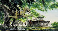 Jurassic Park 3 'raptor attack' concept art by Jack Johnson. Jurassic Park Trilogy, Jurassic Park Series, Jurassic Park World, Raptor Dinosaur, Dinosaur Art, Dinosaur Hunter, John Bell, Scary Halloween Decorations, Spanish Artists