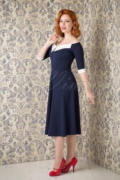 Vintage chic Noreen Swing Dress in Navy 102 31 16625 20150925 11W