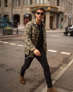 Under the radar.Camo Jacket and the rest of the look by __________________________ Black Jeans Brown Shoes, Brown Shoes Outfit, Camo Pants Outfit, Bomber Jacket Outfit, Camo Outfits, Camo Jacket, Swag Outfits, Black Pants, Nice Outfits For Men