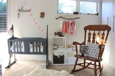 Beautiful little girls nursery, a corner in her parents room. Love the clothes branch hanger!