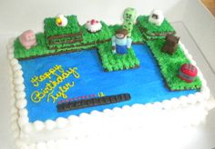 Minecraft Cake -use crushed up graham crackers for sand, maybe?