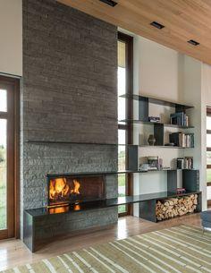 Linear fireplace, wood fireplace, fireplace surrounds, fireplace design, co Modern Stone Fireplace, Linear Fireplace, Freestanding Fireplace, Rustic Fireplaces, Home Fireplace, Fireplace Surrounds, Fireplace Design, Fireplace Ideas, Fireplace Windows