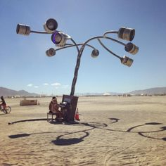 A piano that played out the tubes, and lit up each one with LED when you hit it. #burnerart #burningman2015 #playa #exploring