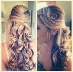 Long curly blonde hair, braided, poof/volune on top, natural
