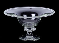 An American Blown Glass Compote.  The circular foot with broken pontil mark below a rigaree decorated shaft and a bowl with a folded rim, early 19th century, New Jersey.