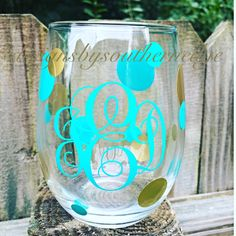 Stemless wine glass with monogram. https://www.etsy.com/shop/DesignsbysouthernEdg
