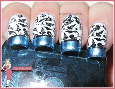 http://www.bettysbeautybombs.com/2015/05/18/black-white-and-chrome/ / Black, white, and chrome nail art