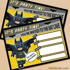Free printable Lego Batman party invitation