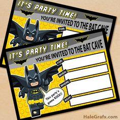 Free printable Lego Batman party invitation