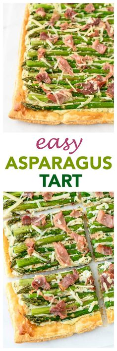 This Asparagus Tart with puff pastry, ricotta, and prosciutto is GORGEOUS and impressive, and it is SO EASY to make! Perfect for an appetizer or main dish. Winning recipe! | www.wellplated.com @wellplated