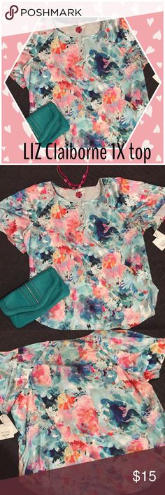 NWT Gorgeous floral 1X top You'll be beautiful in this 100% polyester floral print LIZ Claiborne top. Short sleeve, tie in front or leave it open. Liz Claiborne Tops Blouses