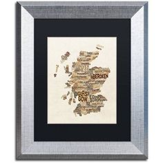 Trademark Fine Art Scotland Typography Text Map 3 inch Canvas Art by Michael Tompsett, Black Matte, Silver Frame, Size: 16 x 20, Brown