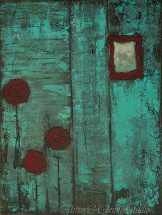 Painting Original Abstract 18x24 Minimalist Barn Aqua Turquois Blue Red Worn. $200.00. By GlitterNGrungeStudio, via Etsy.