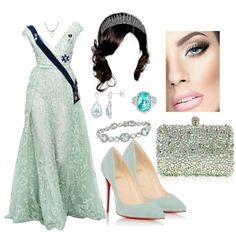 HRH Princess Amélie, Duchess of Primstal arriving to the farewell gala in honour of her sister at the Saarbrücken Palace by arantxaherrera on Polyvore featuring moda, Christian Louboutin, Paolo Costagli, Ritani and Elie Saab