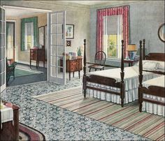 1923 Armstrong Rose & Sage Green Bedroom