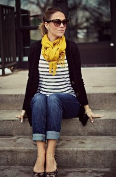 yellow scarf, striped skirt, leopard flats and jeans. Top it off with a black cardigan.