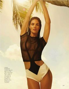 Sun-drenched – Brunette beauty Hilary Rhoda relaxes at the beach with a story featured in Vogue Spain's June issue