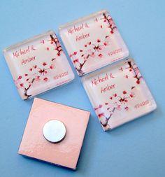 Cherry Blossom Wedding Favor Magnets