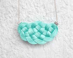 Mint big knot necklace knotted cords turquoise by elfinadesign Knot Necklace, Tassel Necklace, Nautical Wedding, Turquoise Color, Knots, Handmade Jewelry, Mint, Cords, Jewellery
