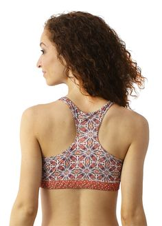 eco friendly bras & intimates // MAJAMAS // comfy supportive colorful geometric printed racerback bra made from recycled performance fabric with stretch elastic, no clasps, & removable pads for everyday, low-impact workout or yoga // be the change & learn to love ecofashion intimates & USA MADE // wear beautiful clothing that doesn't harm our beautiful planet