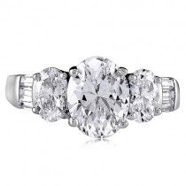 Sterling Silver 925 Oval Cubic Zirconia CZ 3 Stone Ring