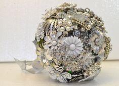 CUSTOM Wedding WINTER SILVER Vintage Brooch Bouquet by LionsgateDesigns