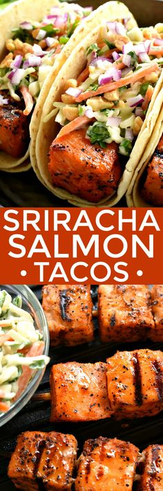 If you love salmon, you'll adore these Sriracha Salmon Tacos! They're topped with a simple Cilantro Lime Cole Slaw for the perfect balance of spicy and sweet. The BEST way to mix things up on taco night!