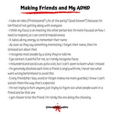 ADHD friendships, social skills, self regulation, memory problems, ADHD masking, emotional dysregulataion Letting People Go, Letting Go, Give It To Me, How To Get, Let It Be, Memory Problems, Making Connections, Self Regulation, Good Listener