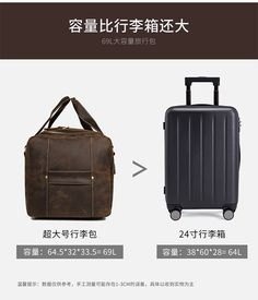 "Men Travel Bag Duffle Large Capability Genuine Leather 27"" Weekend Bags Man Tote Business Vintage Designer Handbag Bag Mens Weekend Bag, Weekend Bags, Duffle Bag Travel, Travel Bags, Men's Totes, Business, Leather, Vintage, Weekender Bags"