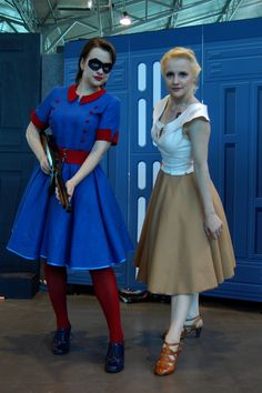 Bucky Barnes and Steve Rogers 1945 dress cosplay! I would have put Steve in his suit for her dress... You can't even recognize that she's Cap!