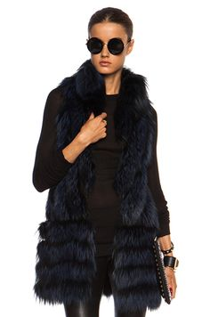 J. Mendel|Silver Fox Vest with Lace in Navy Blue. werq