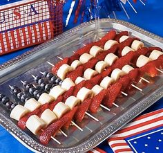 The 4th of July is around the corner! Get some wood skewers, bananas, blueberries and strawberries and make a fruit tray!   Tip: to keep bananas from browning, brush them with lemon juice, and be sure to use a stainless steel knife.