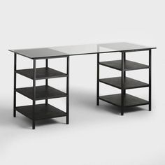 Glass Top and Metal Shelf Colton Mix & Match Desk - v1