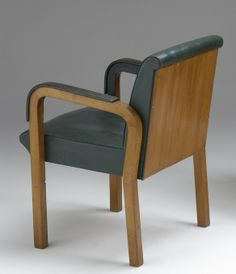 Alvar Aalto; Pine and Leather Armchair by Artek for Säynätsalo Town Hall, 1952.