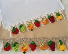 Kit com 2 Panos de Prato Frutas Crochê msmusical artesanato