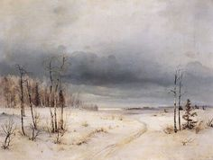 "Alexei Savrasov: ""Winter"", circa 1870, oil on canvas, Dimensions: 65 × 100.7 cm (25.6 × 39.6 in), Current location: State Russian Museum."